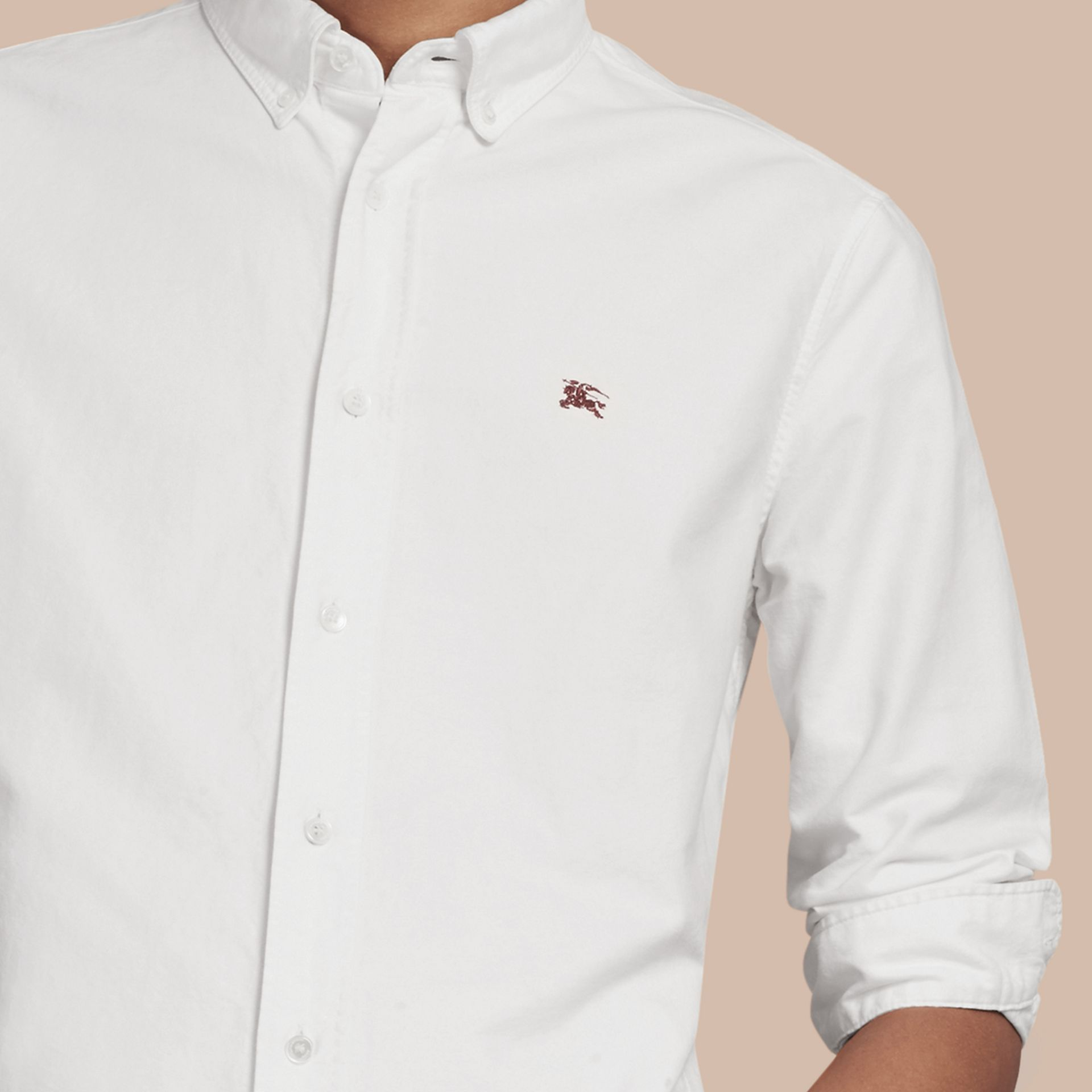 Cotton Oxford Shirt in White - Men | Burberry Singapore - gallery image 2