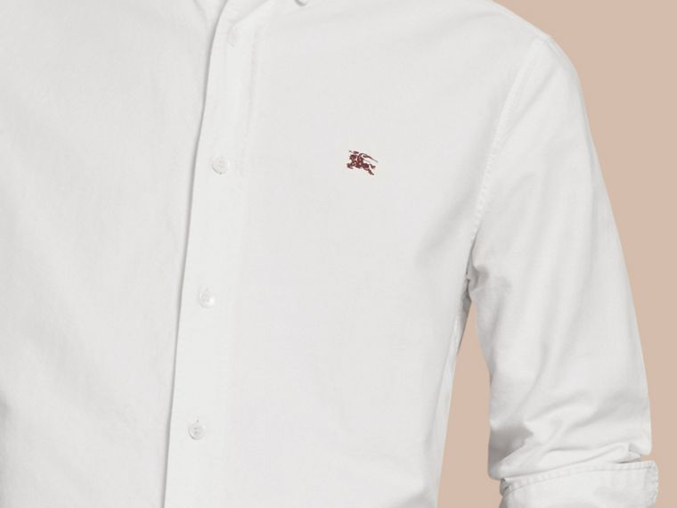 Cotton Oxford Shirt in White - Men | Burberry Hong Kong - cell image 1