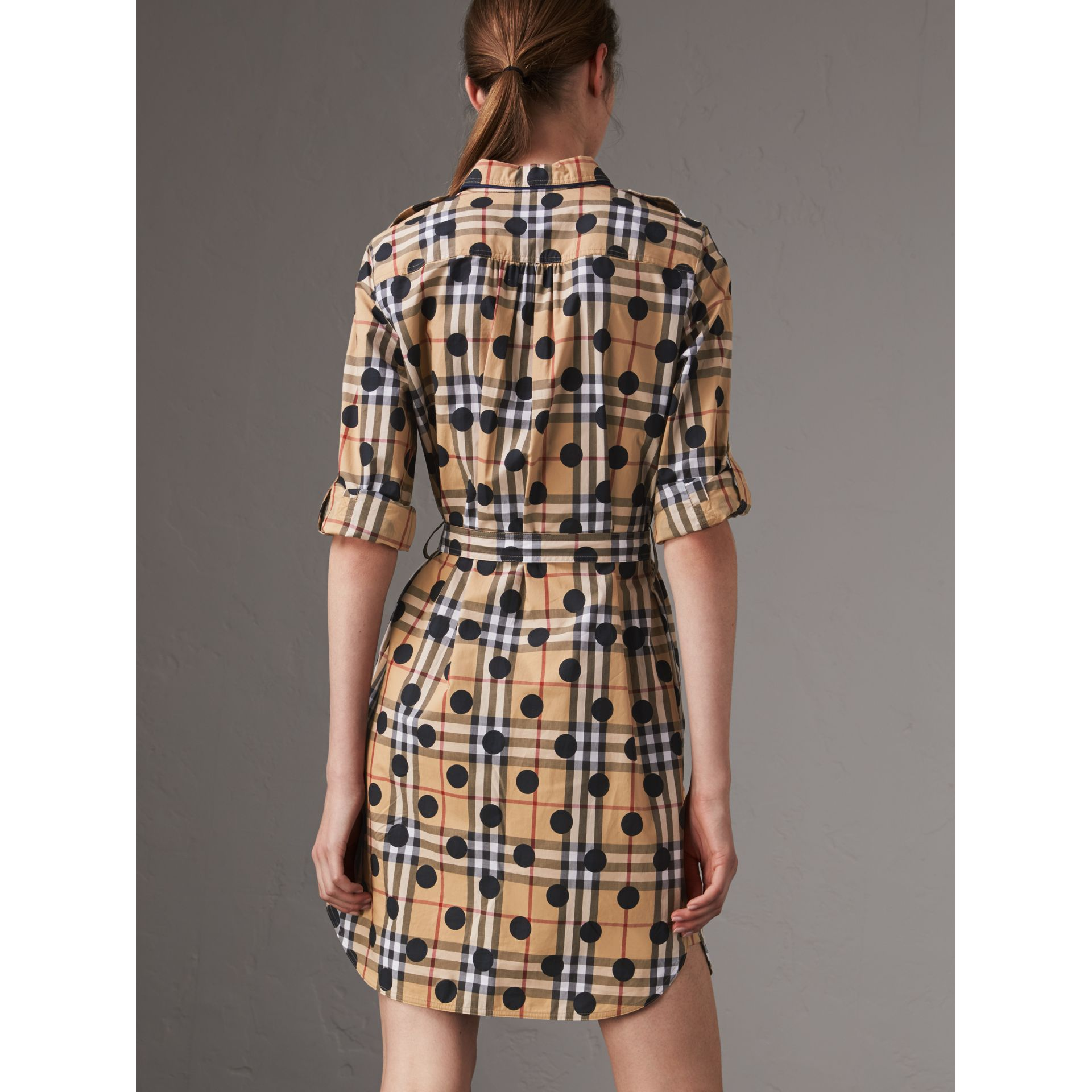 Polka-dot Print Check Cotton Tunic Dress in Navy - Women | Burberry - gallery image 3
