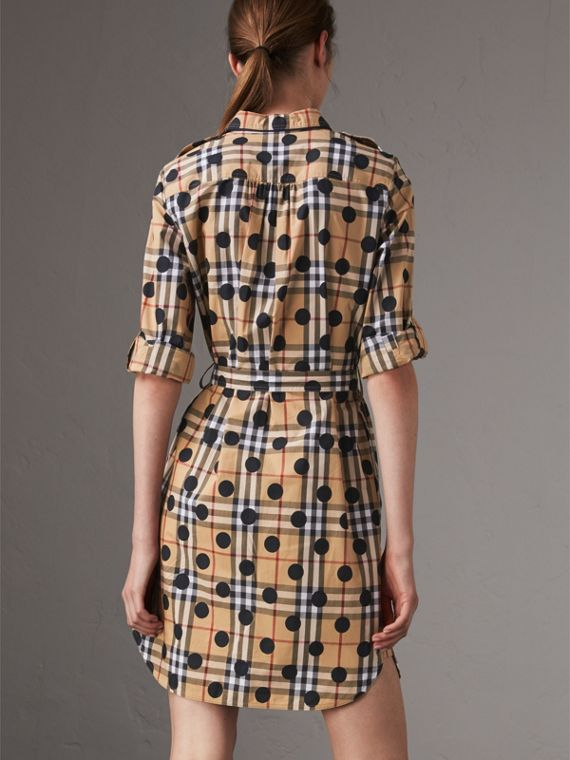 Polka-dot Print Check Cotton Tunic Dress in Navy - Women | Burberry Hong Kong - cell image 2