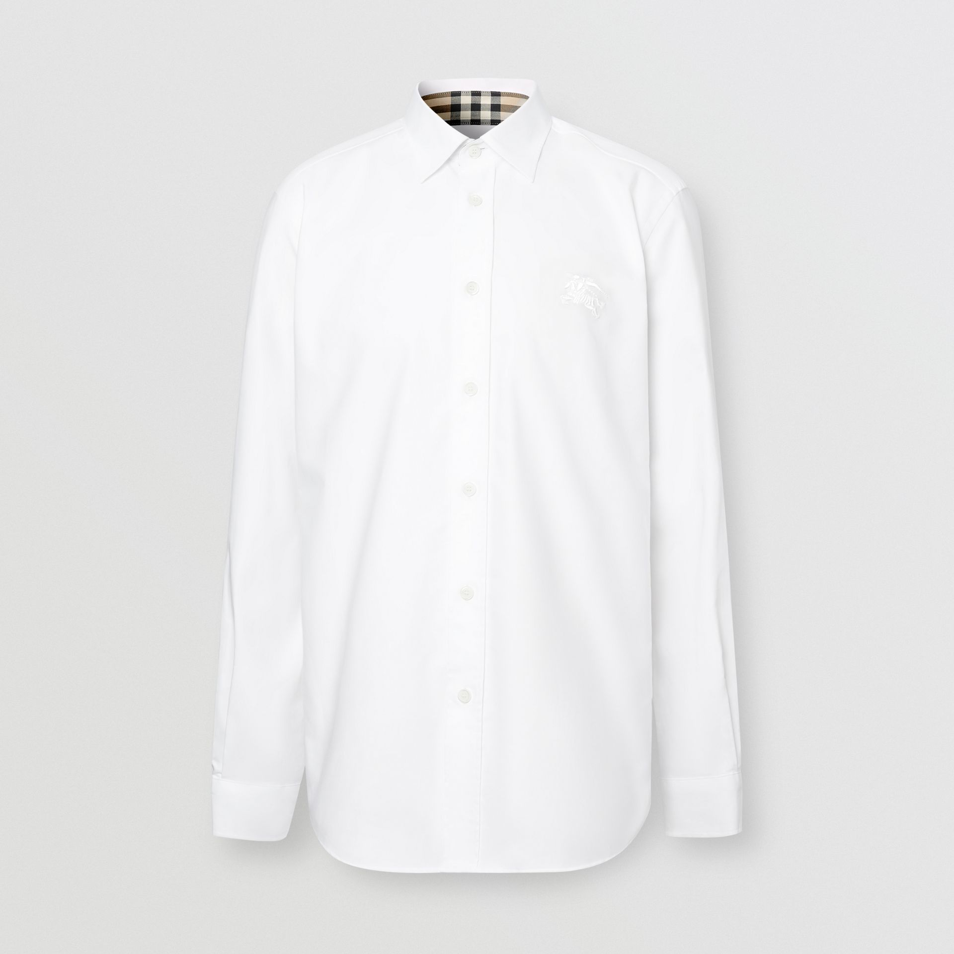 Embroidered EKD Stretch Cotton Poplin Shirt in White - Men | Burberry Hong Kong S.A.R - gallery image 6