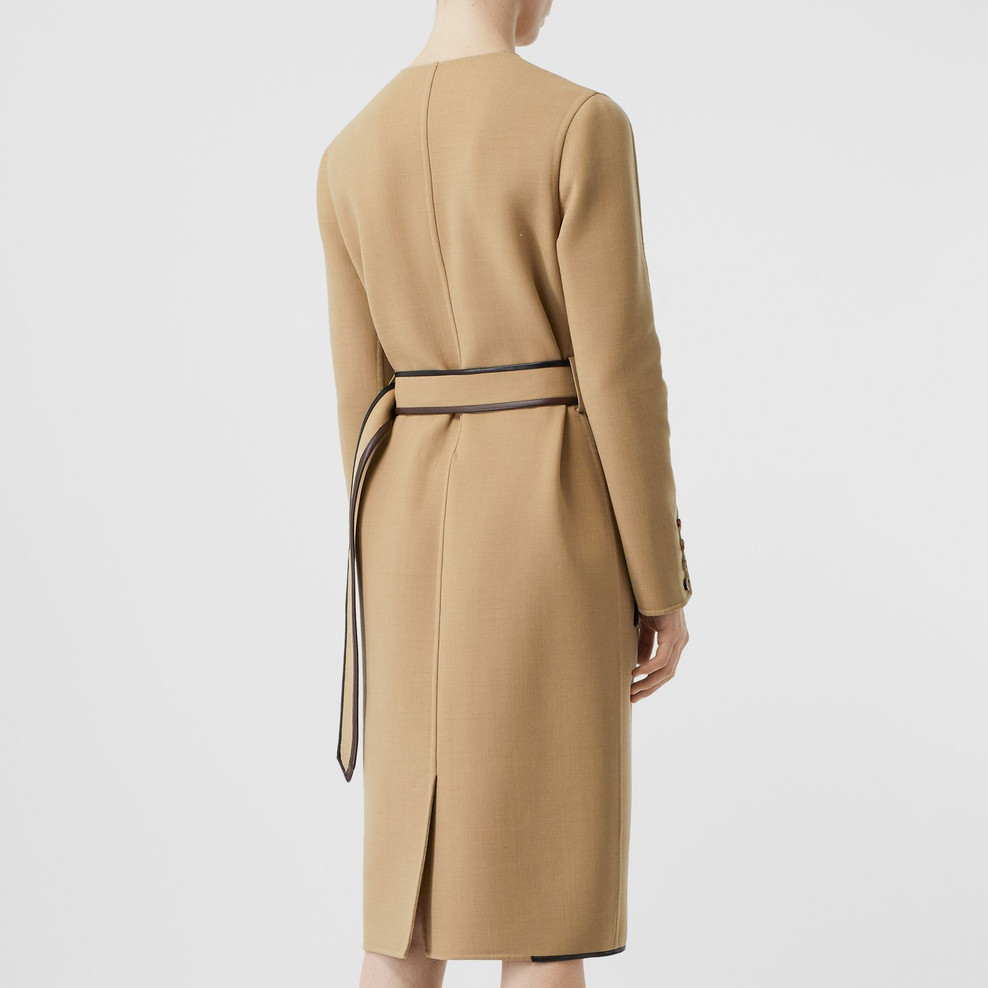 Lambskin Trim Technical Wool Belted Dress in Honey - Women | Burberry Australia - gallery image 2