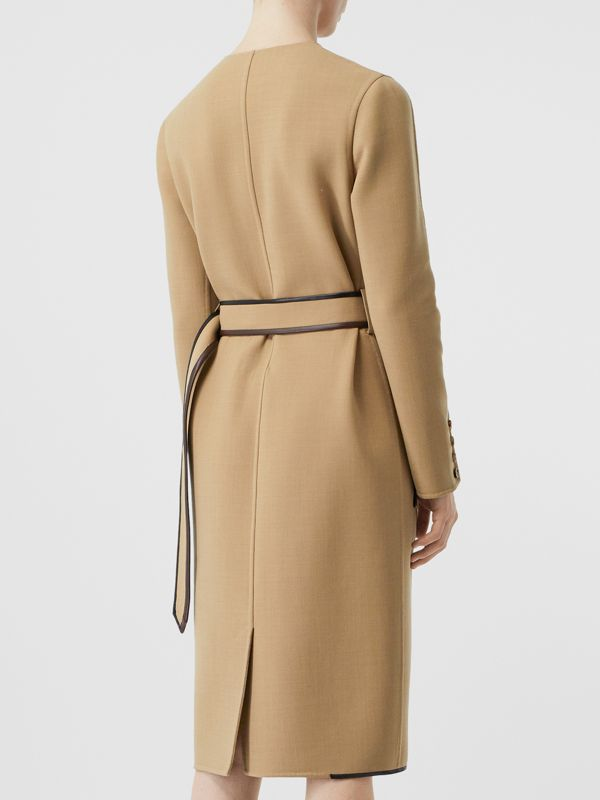 Lambskin Trim Technical Wool Belted Dress in Honey - Women | Burberry Australia - cell image 2