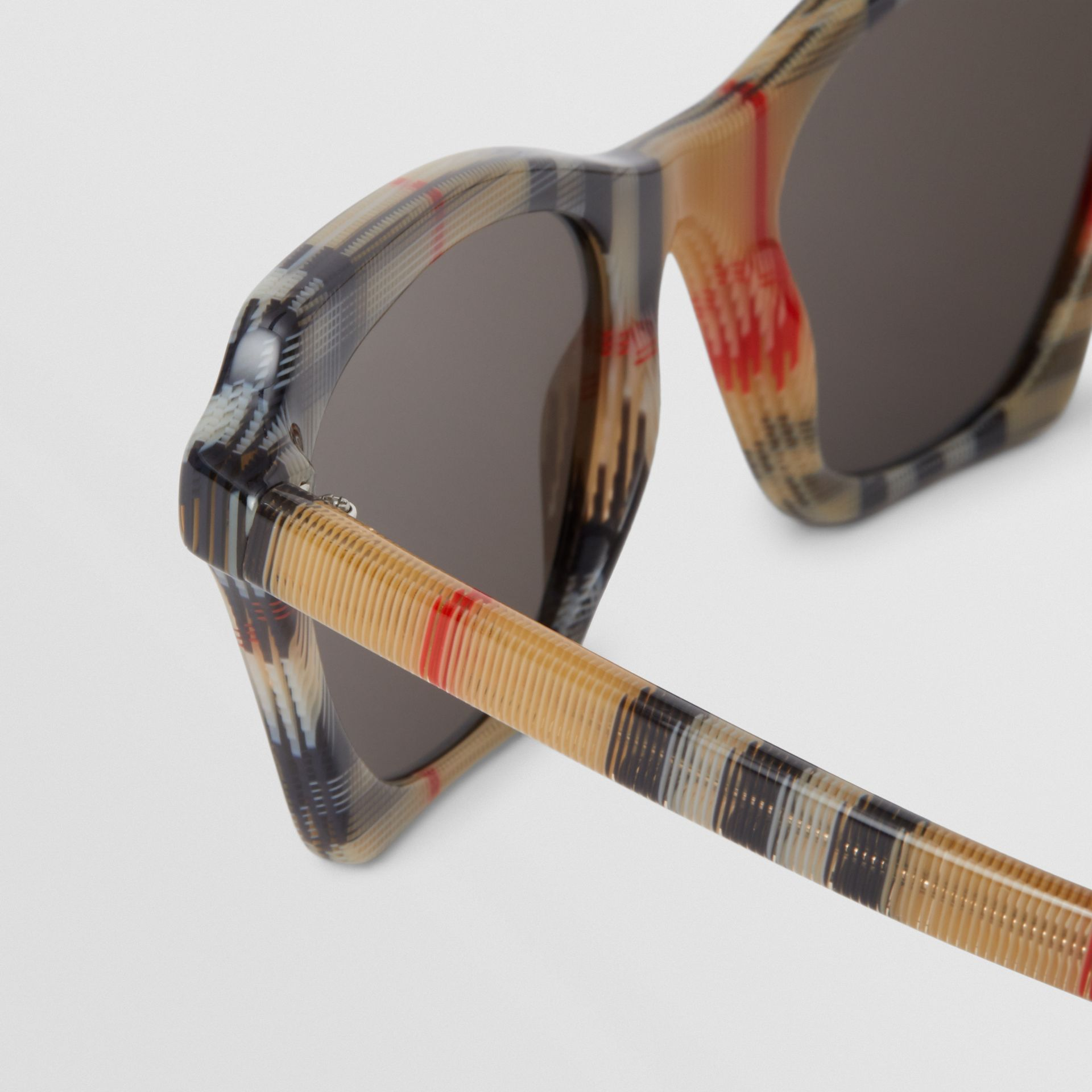 Vintage Check Butterfly Frame Sunglasses in Antique Yellow - Women | Burberry Canada - gallery image 1