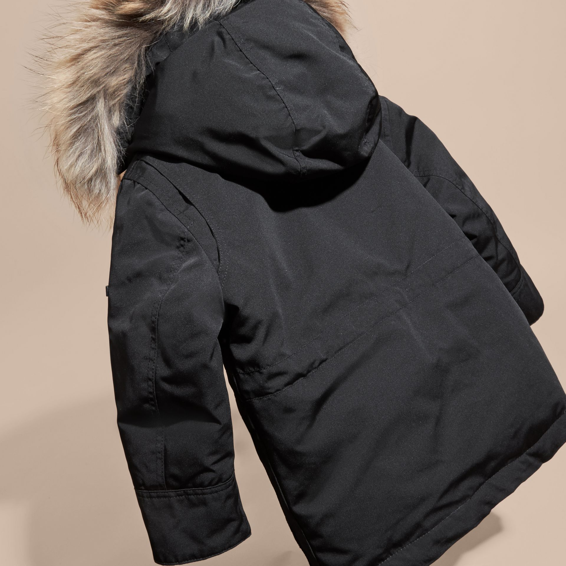 Fur-Trimmed Down-Filled Hooded Puffer Coat in Black - Boy | Burberry - gallery image 3