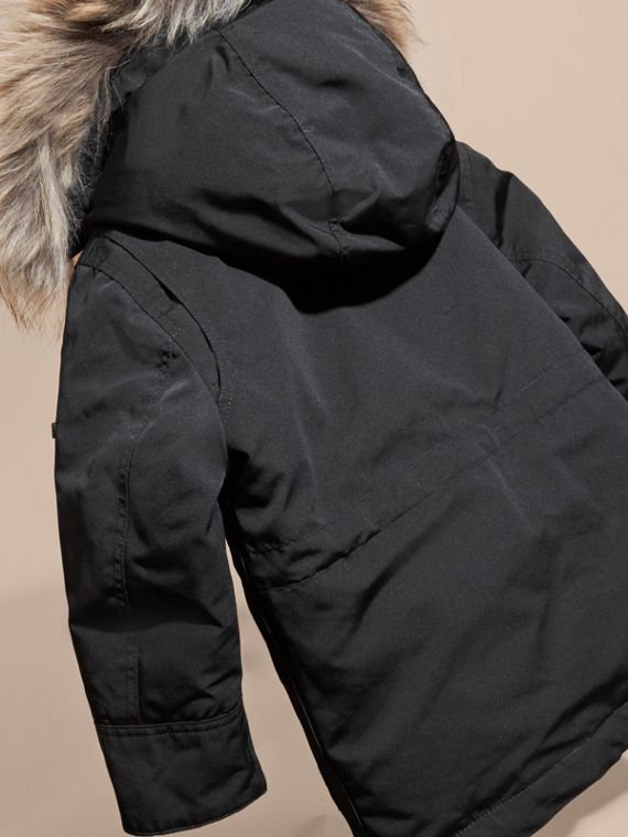 Fur-Trimmed Down-Filled Hooded Puffer Coat Black - cell image 3