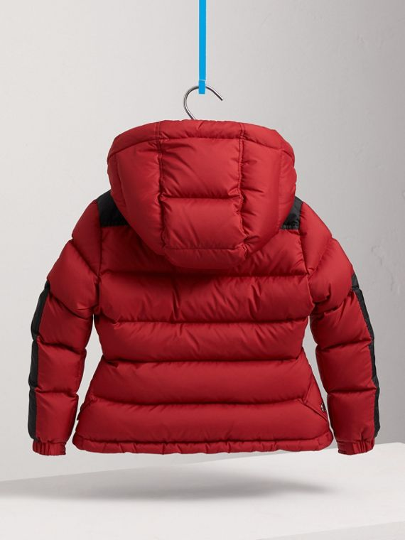 Detachable Hood Two-tone Puffer Coat in Parade Red - Girl | Burberry - cell image 3
