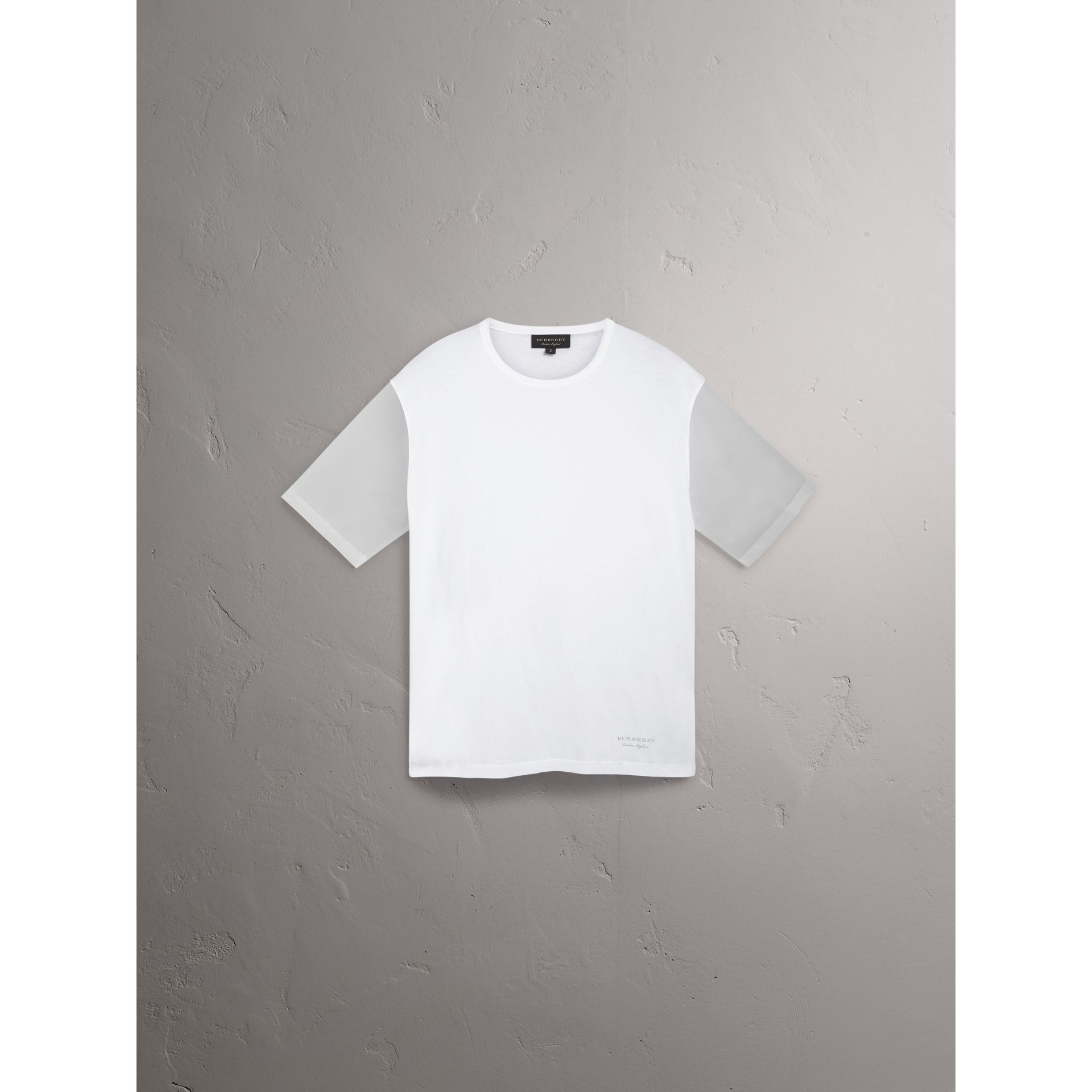 Cotton and Soft-touch Plastic T-shirt in White - Men | Burberry United States - gallery image 3