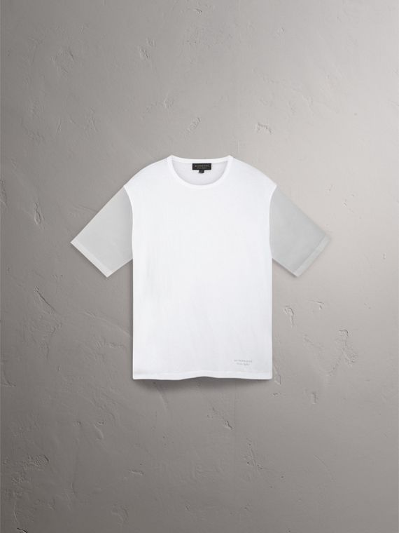 Cotton and Soft-touch Plastic T-shirt in White - Men | Burberry United States - cell image 3