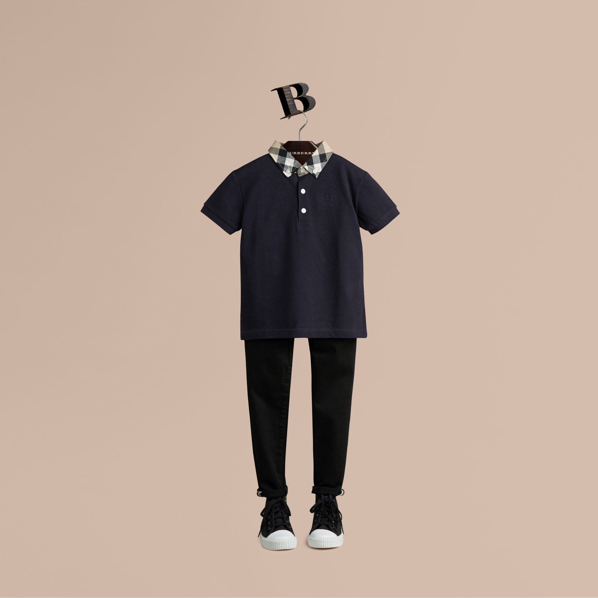 Check Collar Polo Shirt in True Navy - Boy | Burberry - gallery image 1