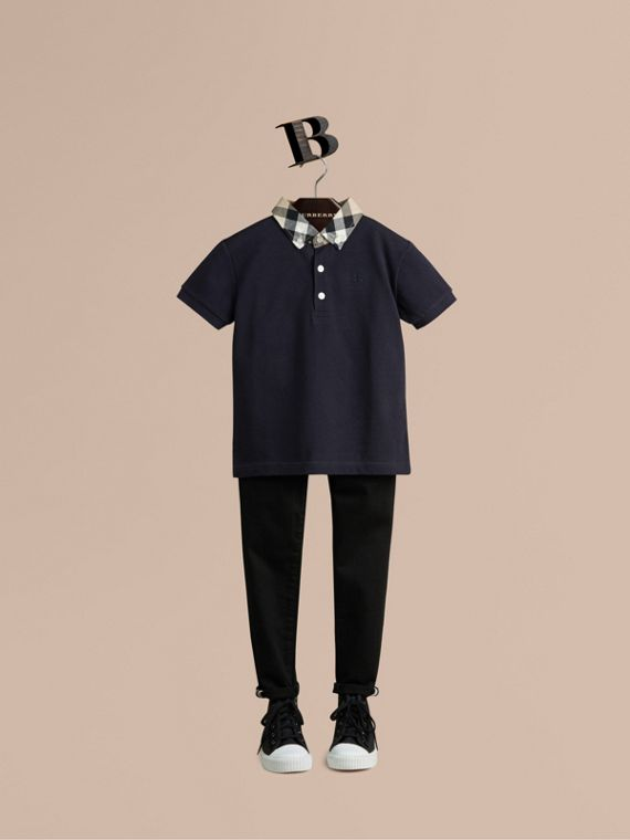 Check Collar Polo Shirt in True Navy - Boy | Burberry