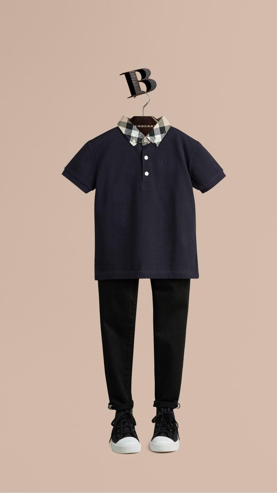 True navy Check Collar Polo Shirt True Navy - Image 1
