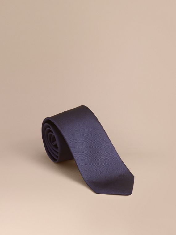 Modern Cut Silk Twill Tie in Navy - Men | Burberry Australia