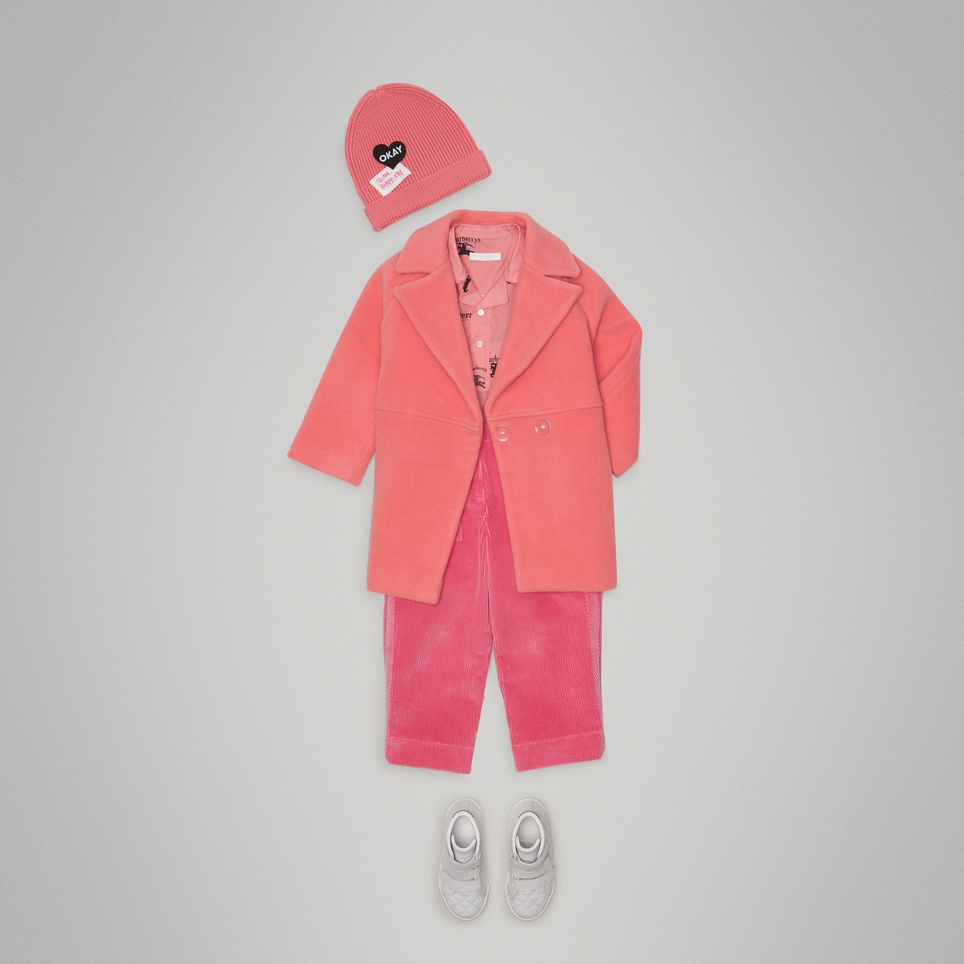 Boiled Wool Cocoon Coat in Bright Pink - Girl | Burberry Singapore - gallery image 2