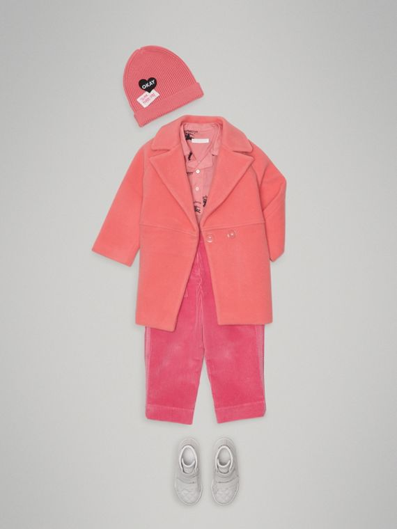 Boiled Wool Cocoon Coat in Bright Pink