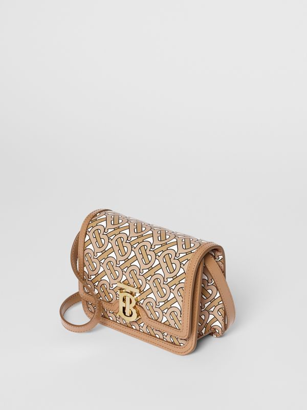 Mini Monogram Print Leather TB Bag in Beige - Women | Burberry Canada - cell image 3