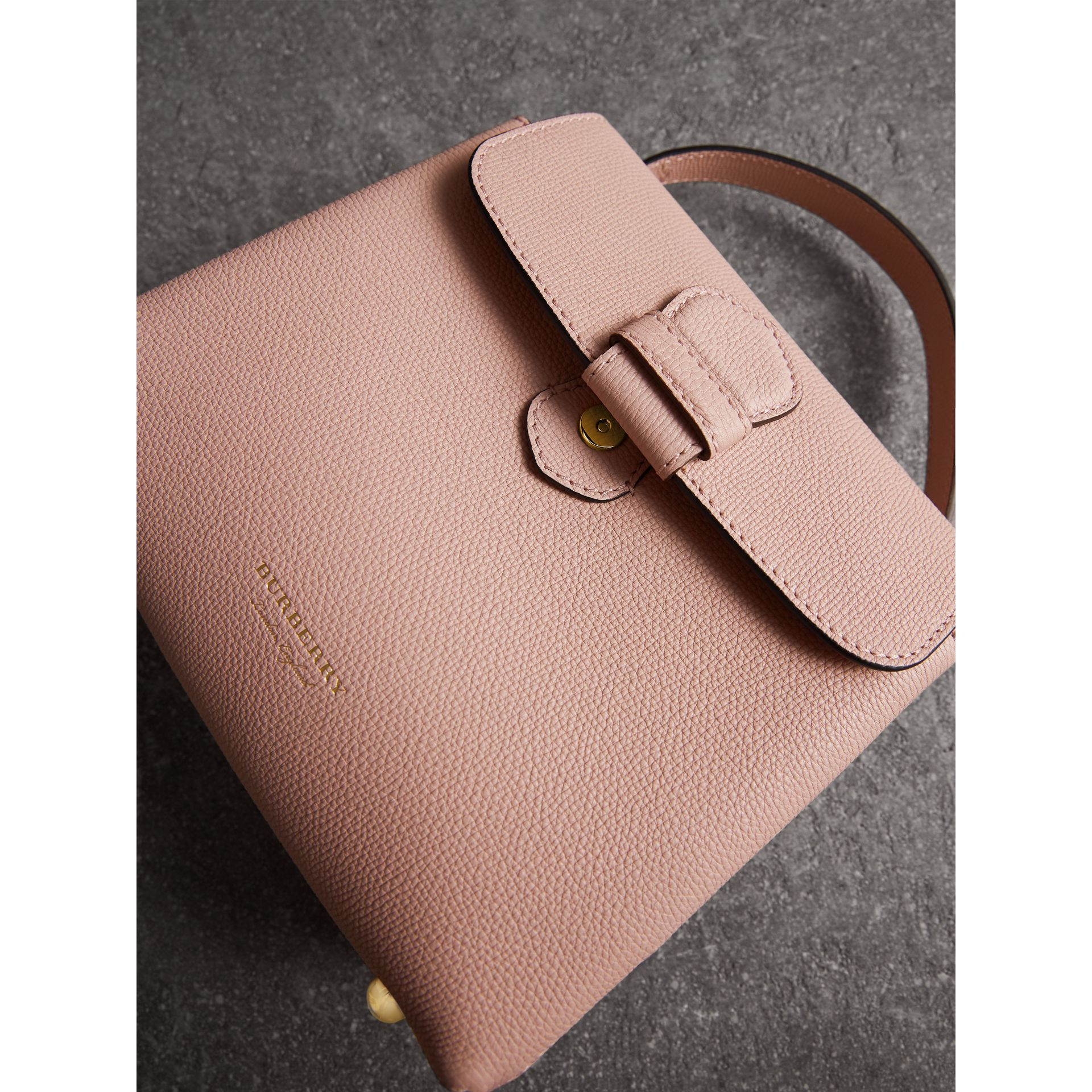 Small Grainy Leather and House Check Tote Bag in Pale Orchid - Women | Burberry - gallery image 7