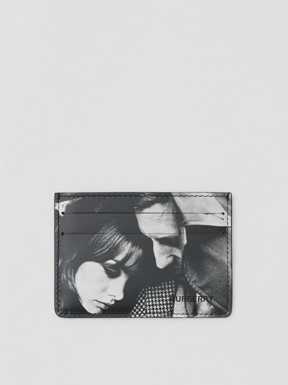 Archive Campaign Print Leather Card Case in Black/white