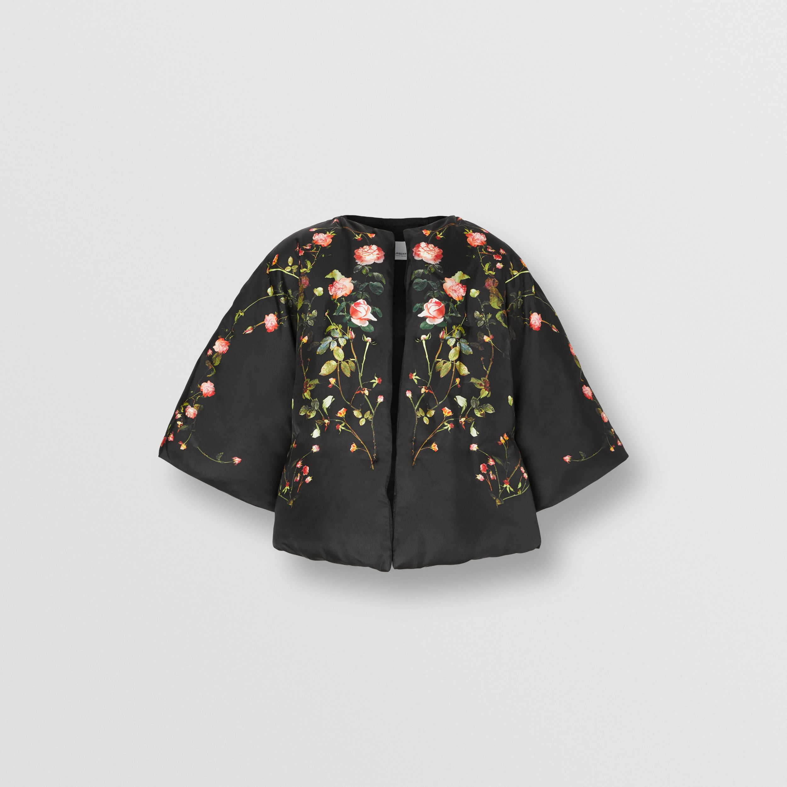 Rose Print Silk Cape in Black - Women | Burberry - 4