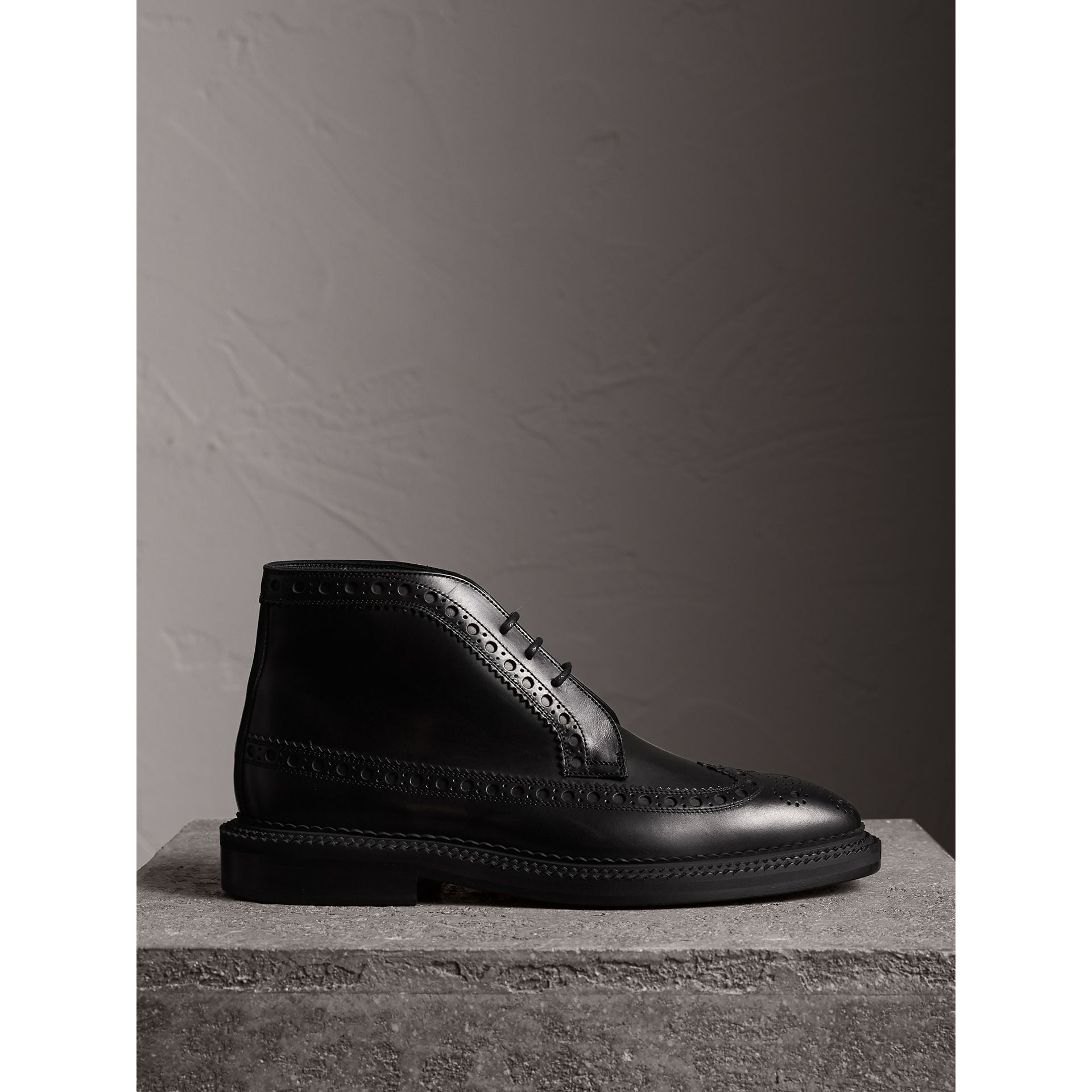 Leather Brogue Boots in Black - Men | Burberry - gallery image 1