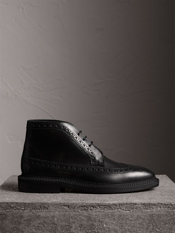 Leather Brogue Boots in Black