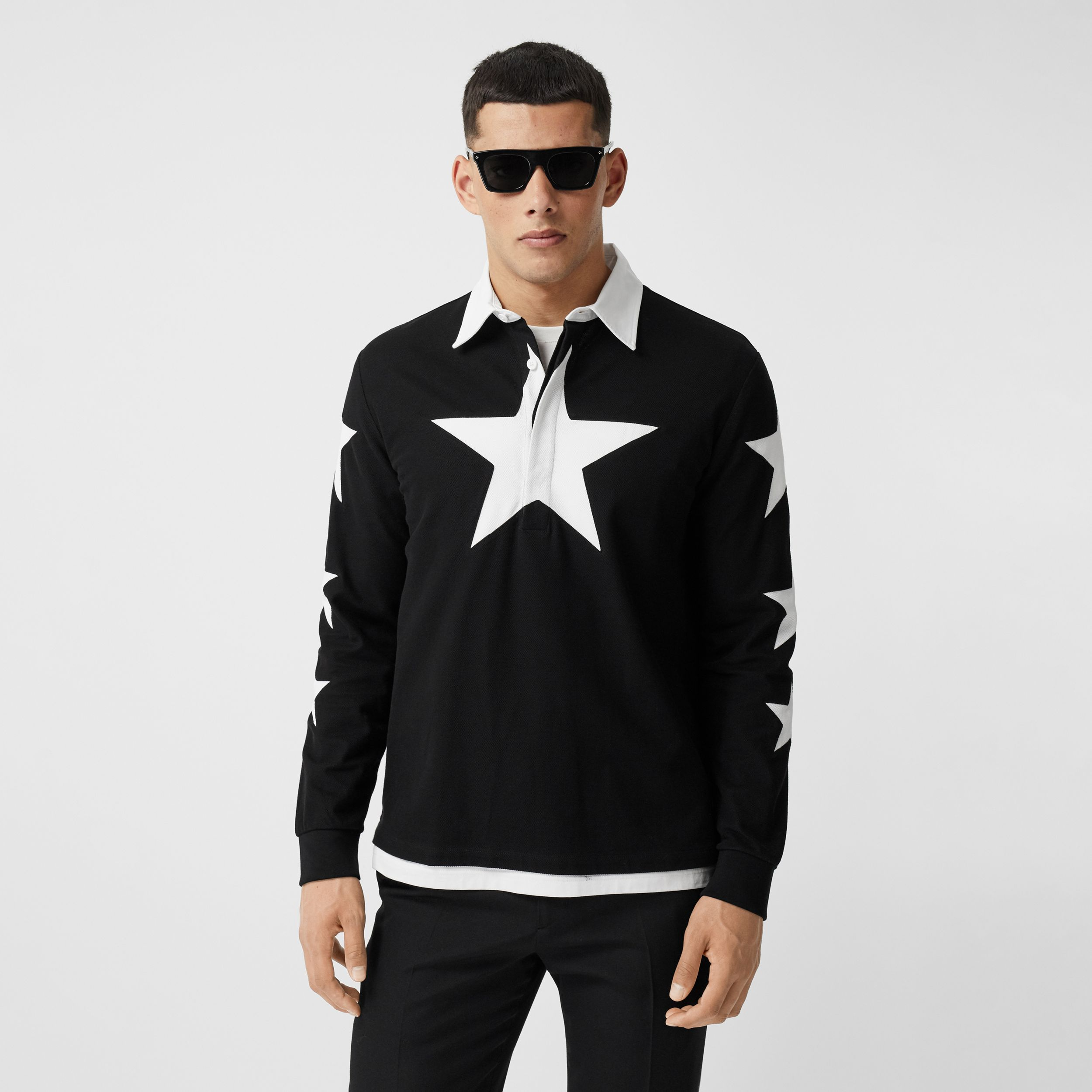 Long-sleeve Star Motif Cotton Piqué Polo Shirt in Black | Burberry - 1
