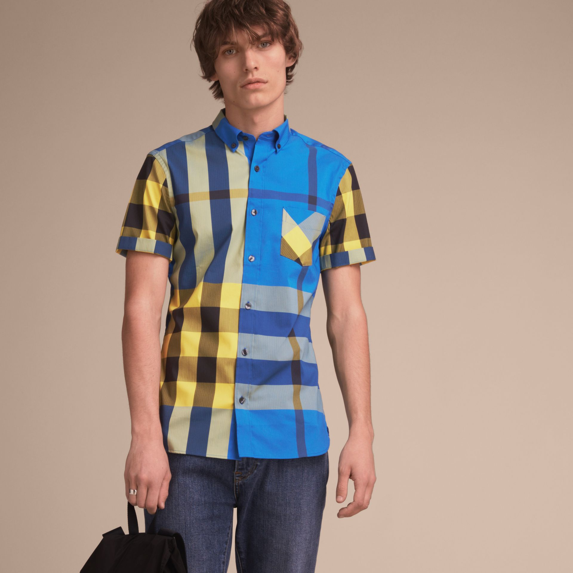 Short-sleeve Check Stretch Cotton Blend Shirt in Bright Canvas Blue - Men | Burberry - gallery image 6