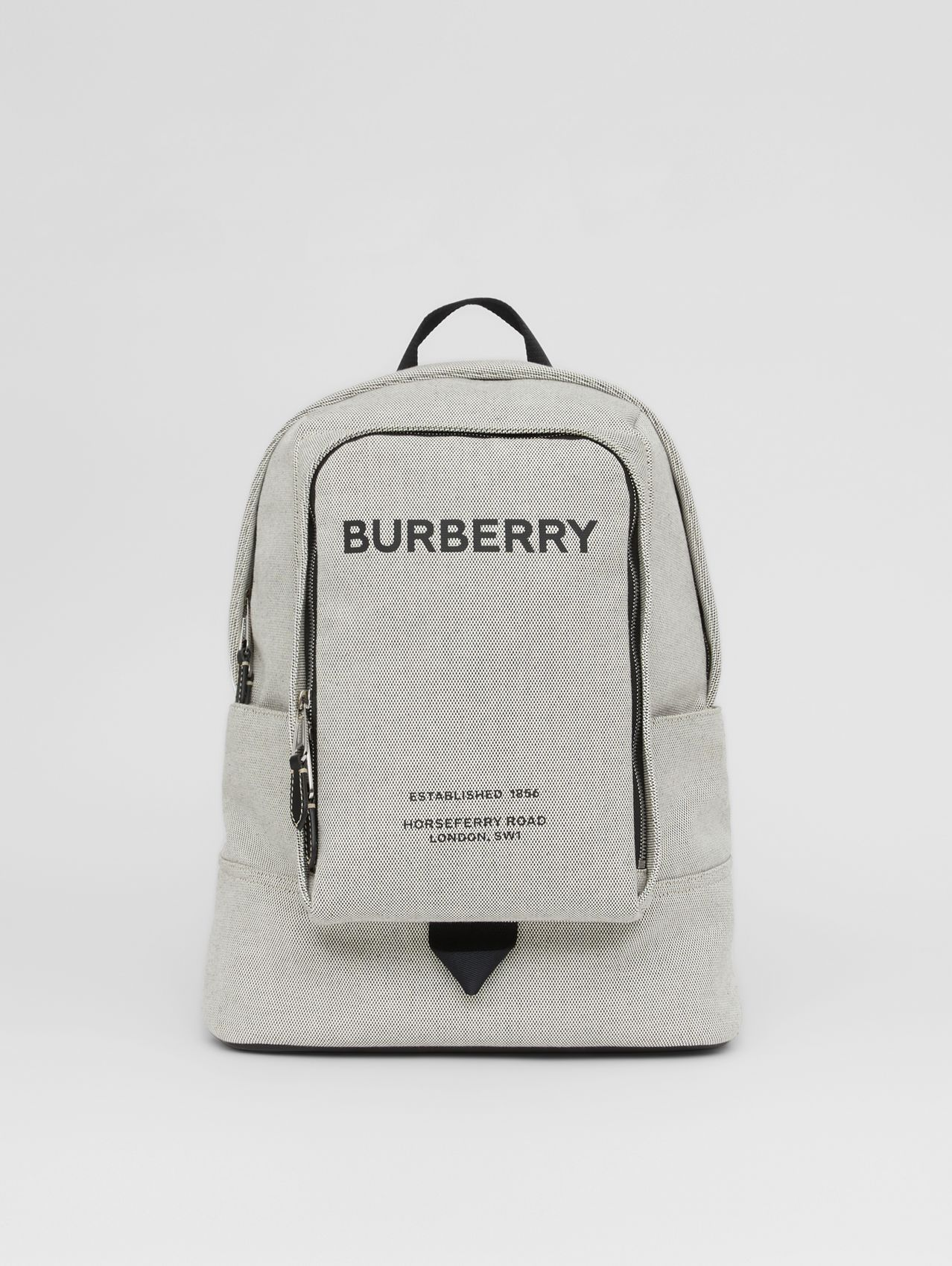 Large Logo Print Cotton Canvas Backpack in Black