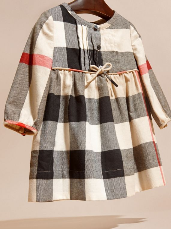 Check Cotton Flannel Dress with Bow Detail - cell image 2