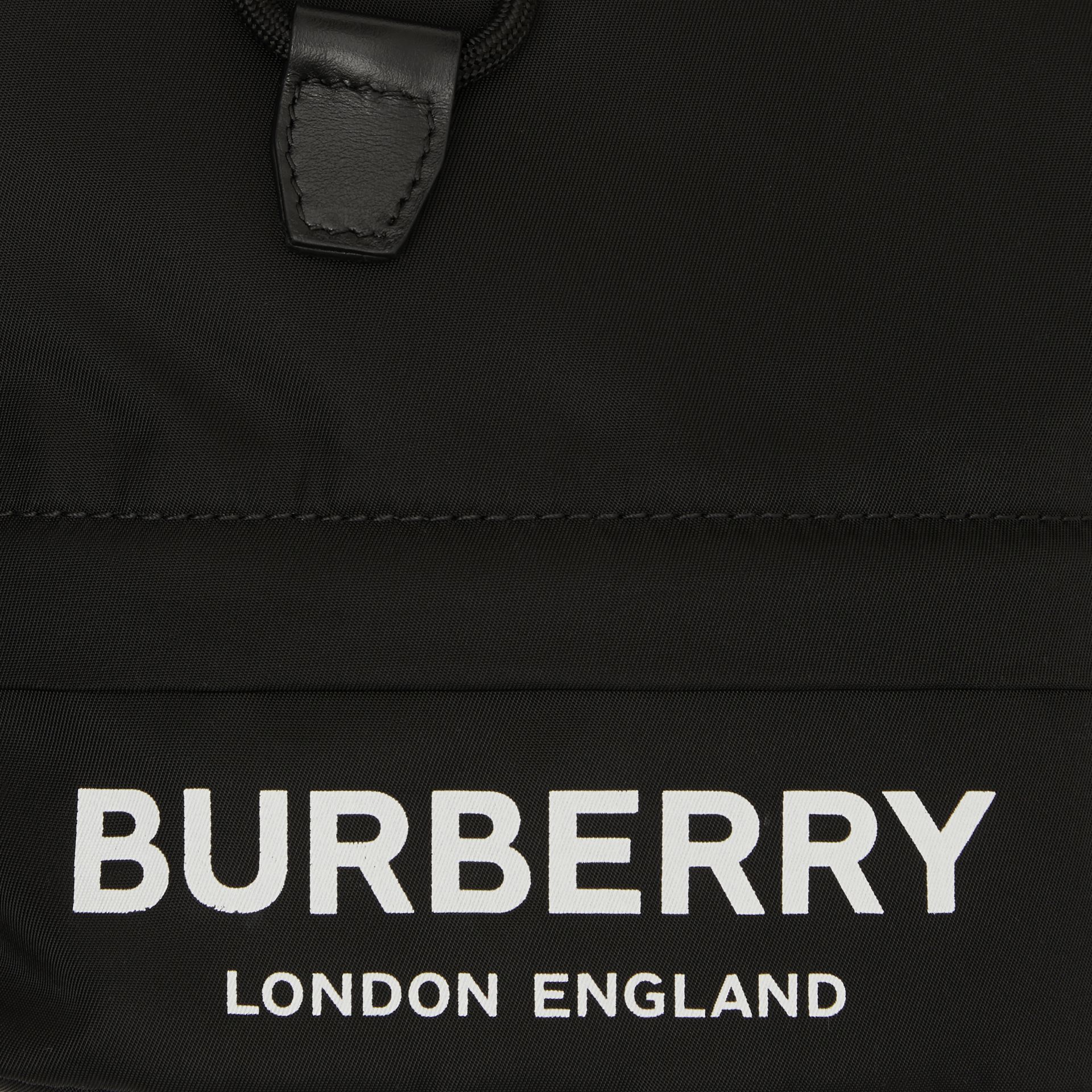 Logo Print Nylon Drawcord Pouch in Black - Women | Burberry - gallery image 1