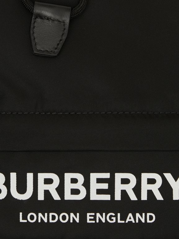 Logo Print Nylon Drawcord Pouch in Black - Women | Burberry - cell image 1