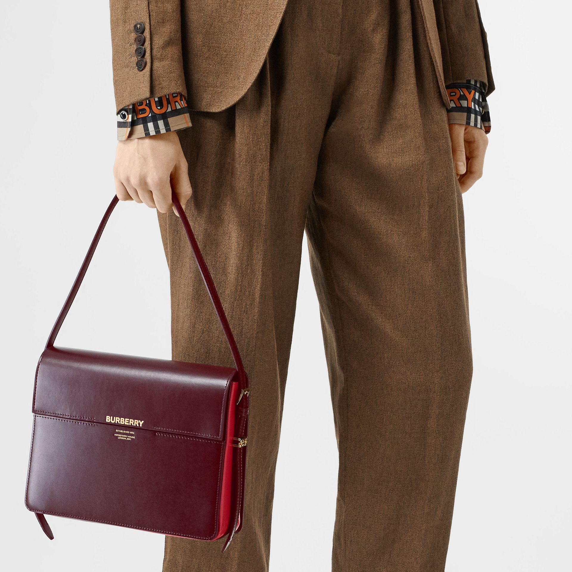 Large Two-tone Leather Grace Bag in Oxblood/bright Military Red - Women | Burberry United Kingdom - gallery image 2