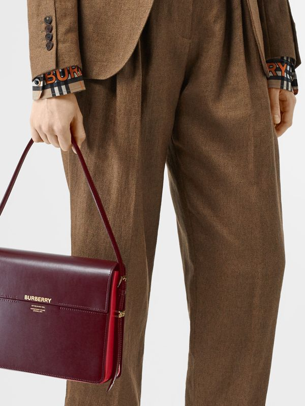 Large Two-tone Leather Grace Bag in Oxblood/bright Military Red - Women | Burberry Singapore - cell image 2