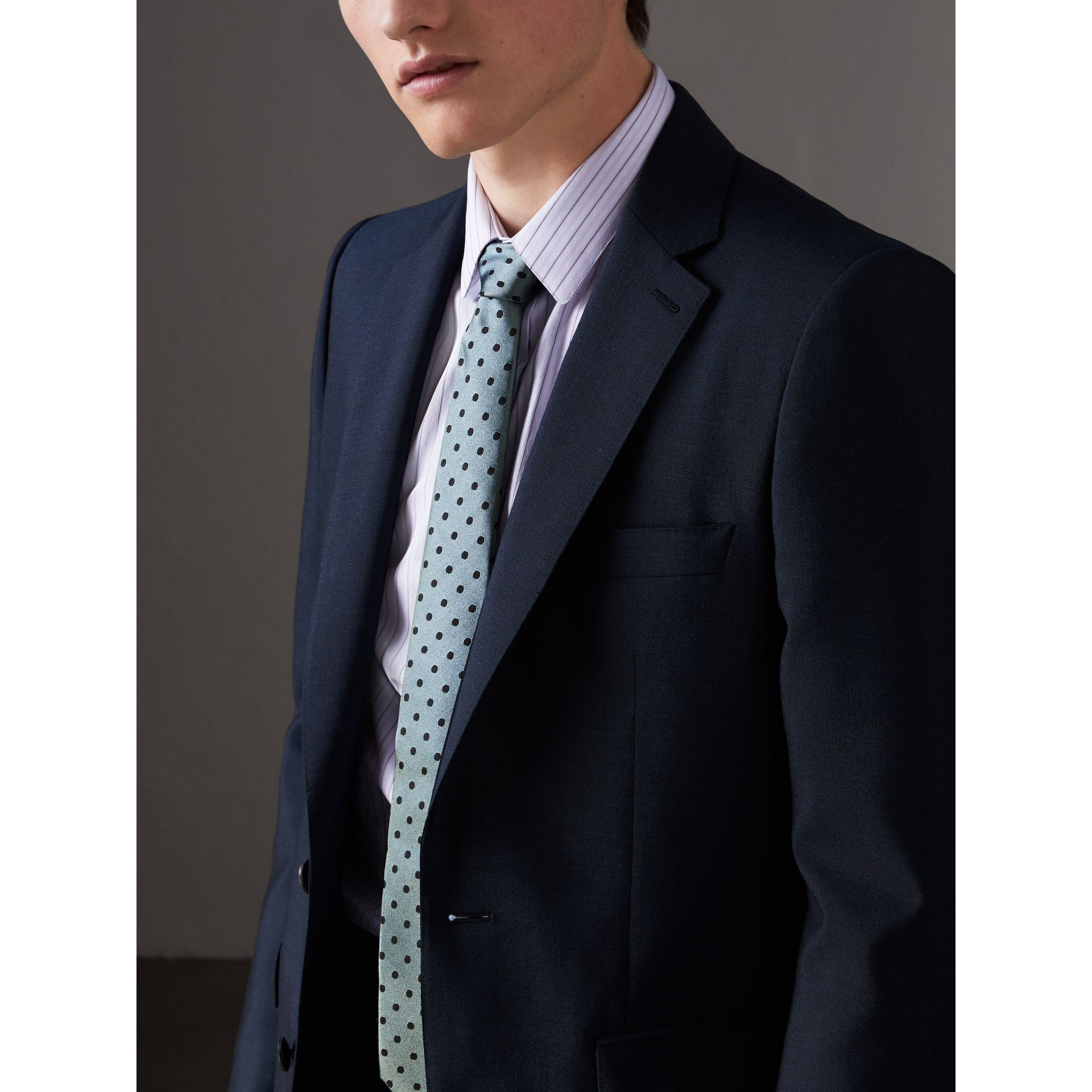 Modern Cut Polka-dot Silk Tie in Light Azure - Men | Burberry United Kingdom - gallery image 3