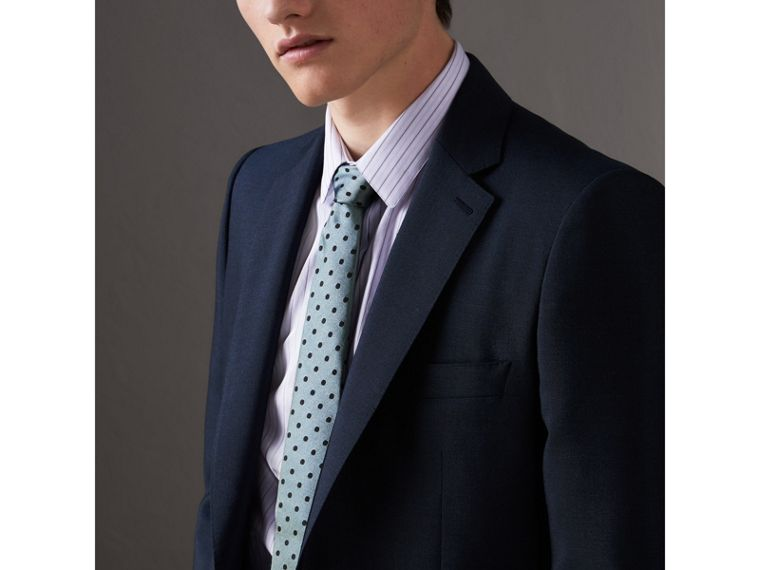 Modern Cut Polka-dot Silk Tie in Light Azure - Men | Burberry Singapore - cell image 2