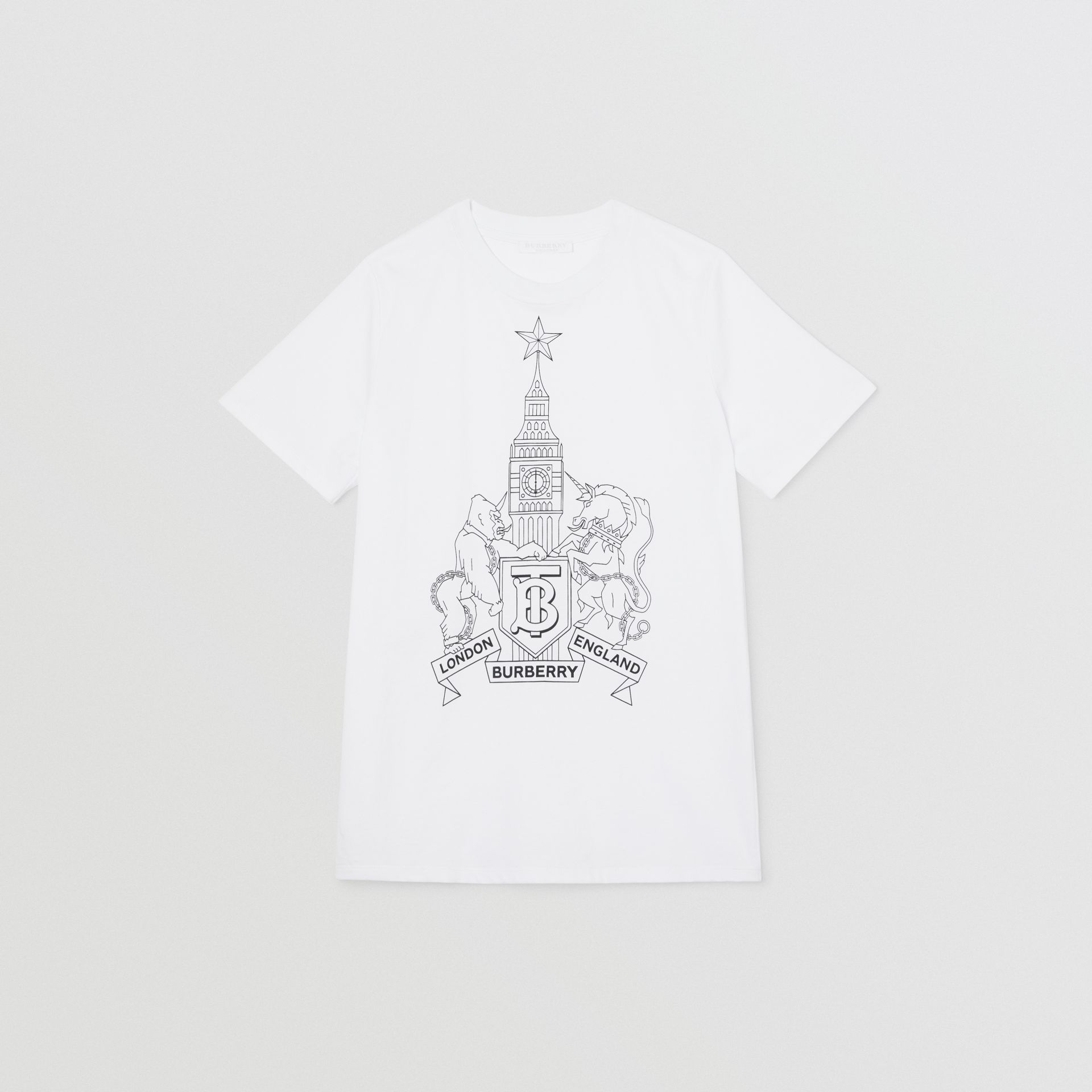 Montage Logo Print Cotton T-shirt in White | Burberry - gallery image 0