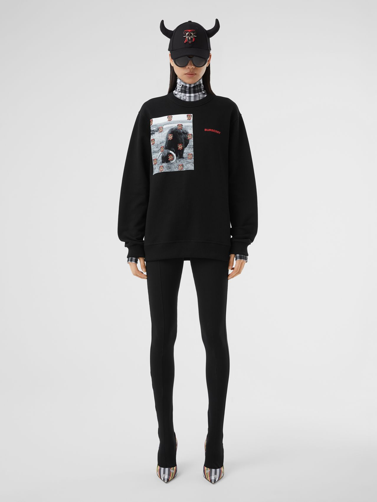 Montage Print Cotton Sweatshirt – Unisex in Black