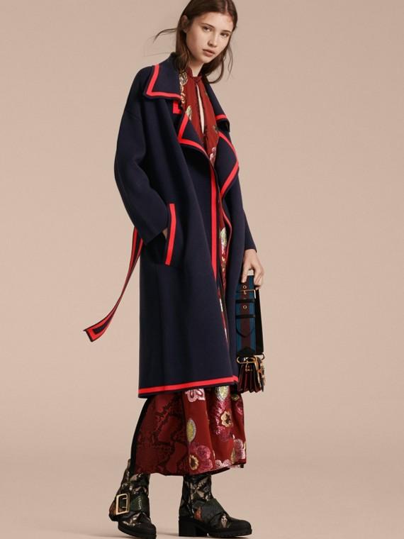 Cappotto cardigan a vestaglia in lana e cashmere stretch
