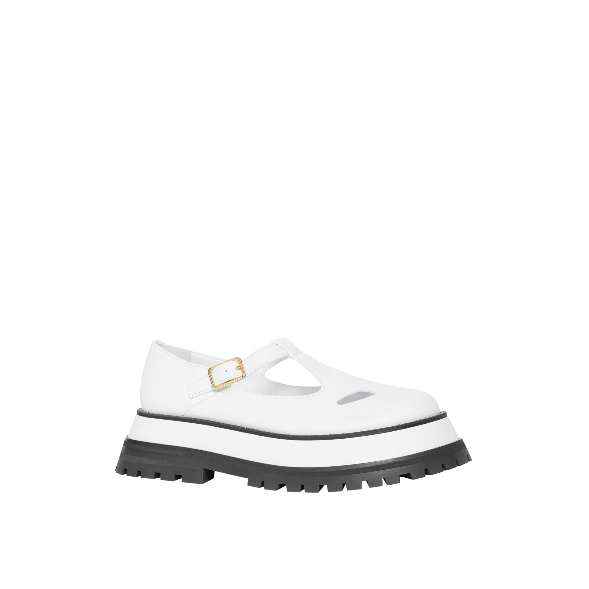 Leather T-bar Shoes in Optic White - Women | Burberry - gallery image 6