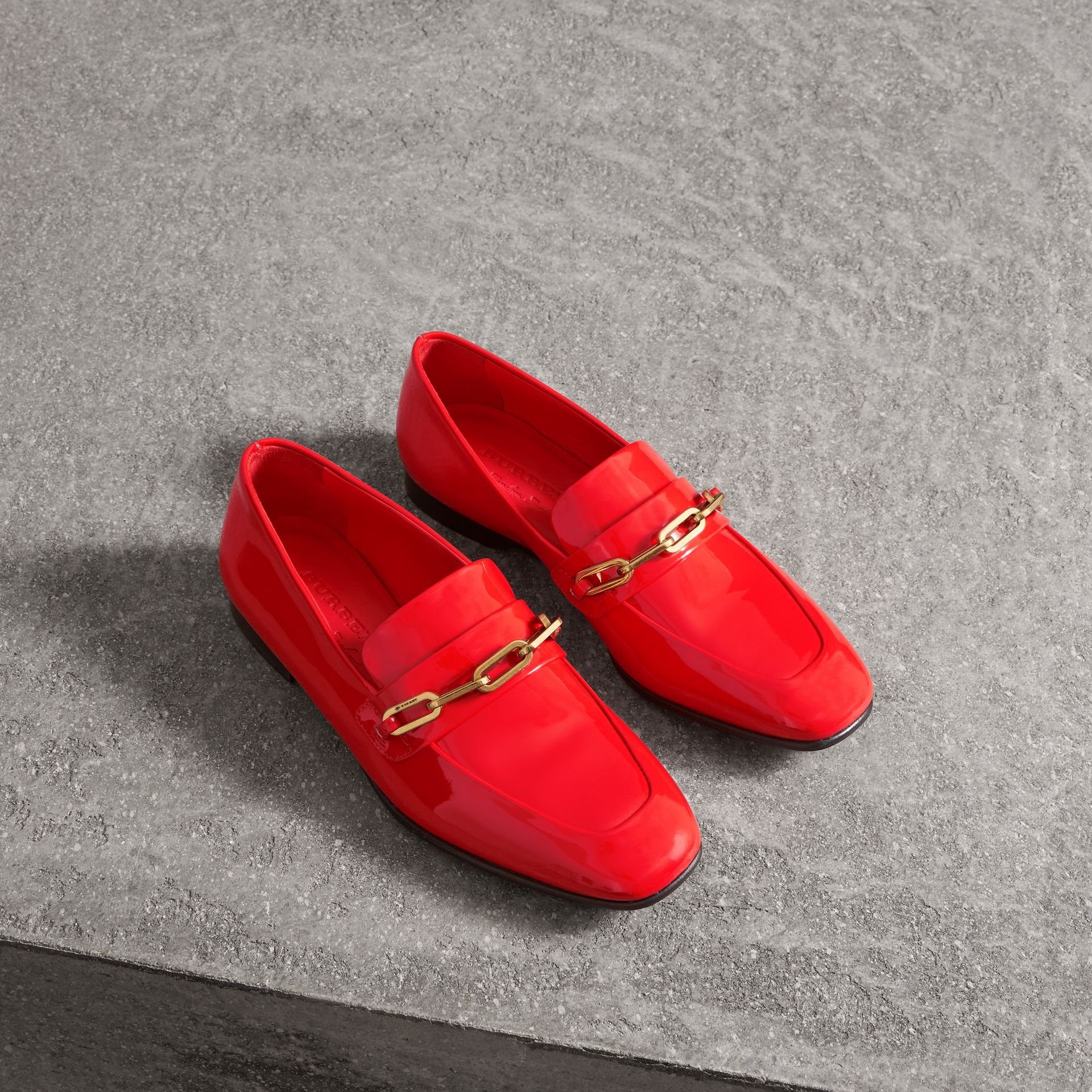 Link Detail Patent Leather Loafers in Bright Red - Women | Burberry United Kingdom - gallery image 0