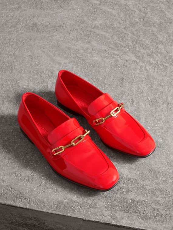 Link Detail Patent Leather Loafers in Bright Red