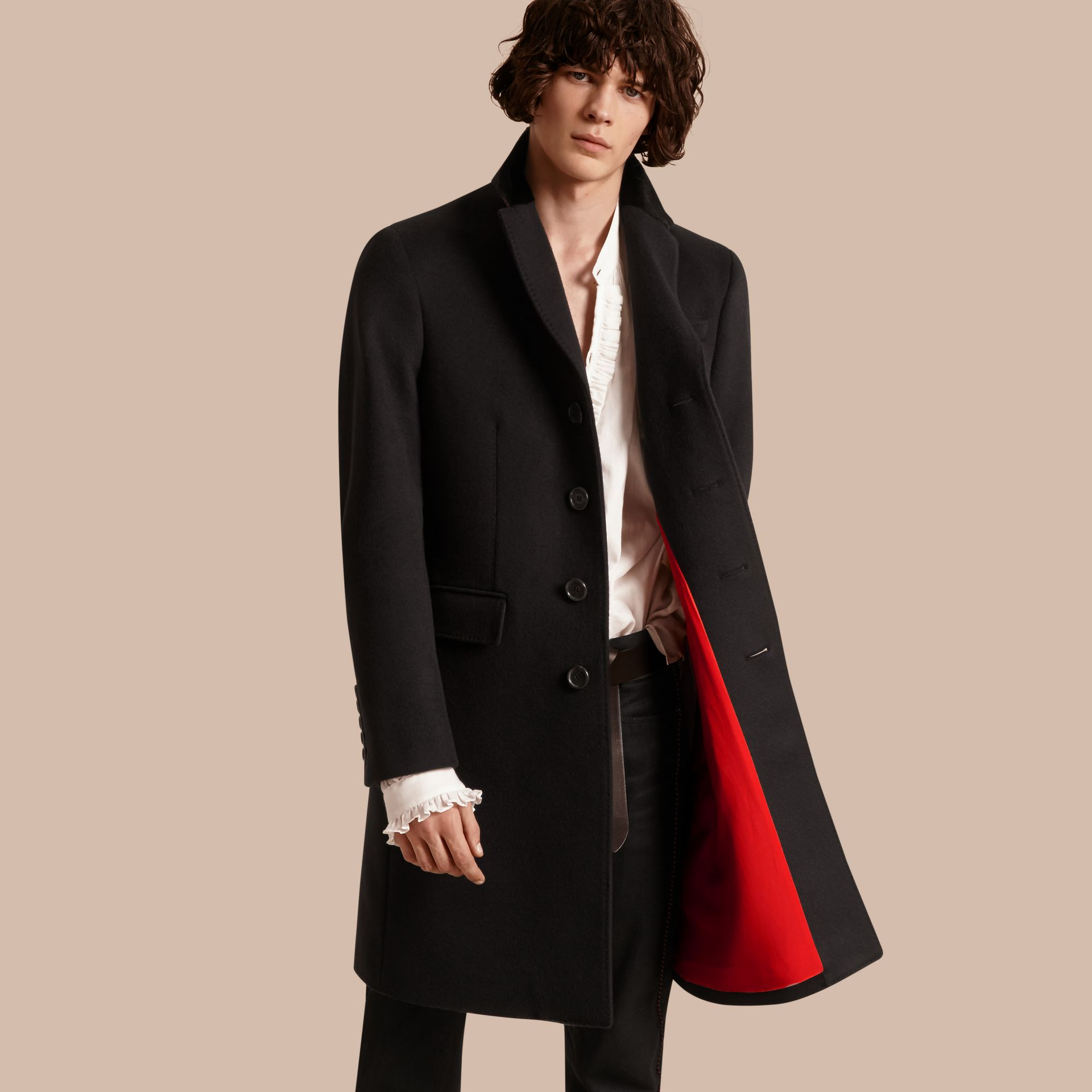 Black Rabbit Topcollar Wool Cashmere Coat - gallery image 1
