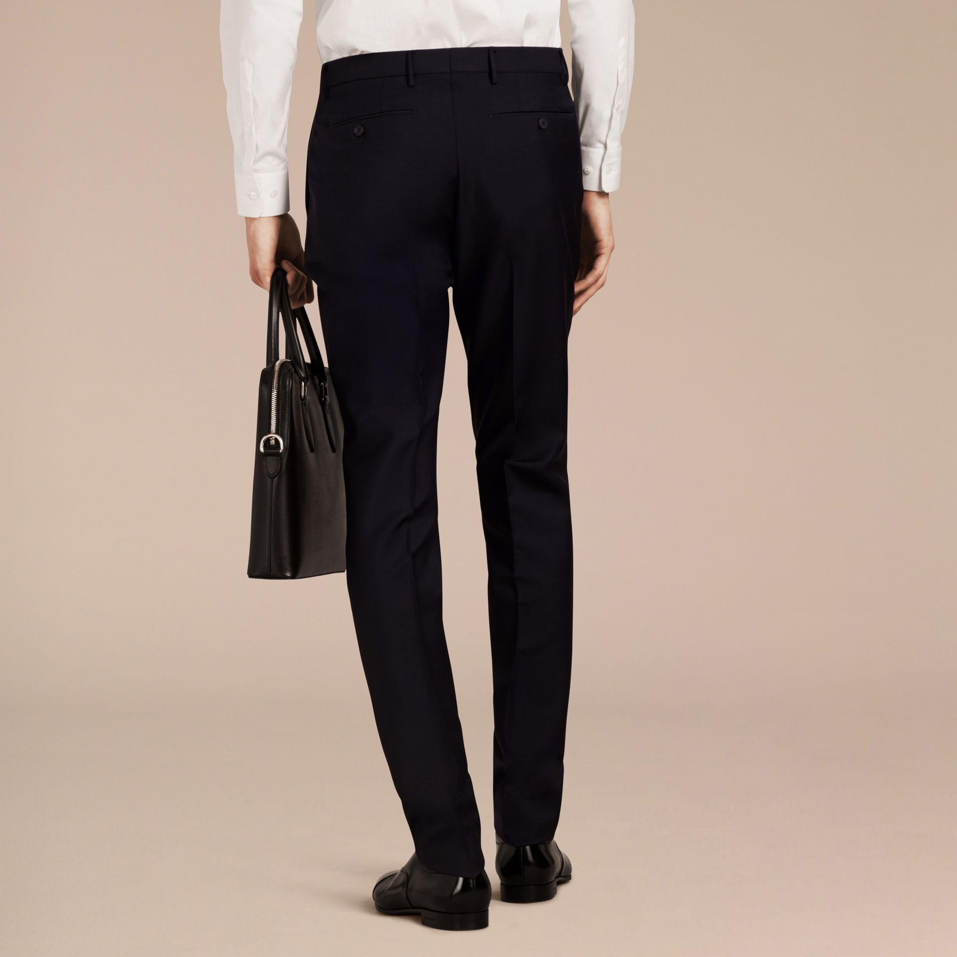 Slim Fit Wool Mohair Trousers True Navy - gallery image 3
