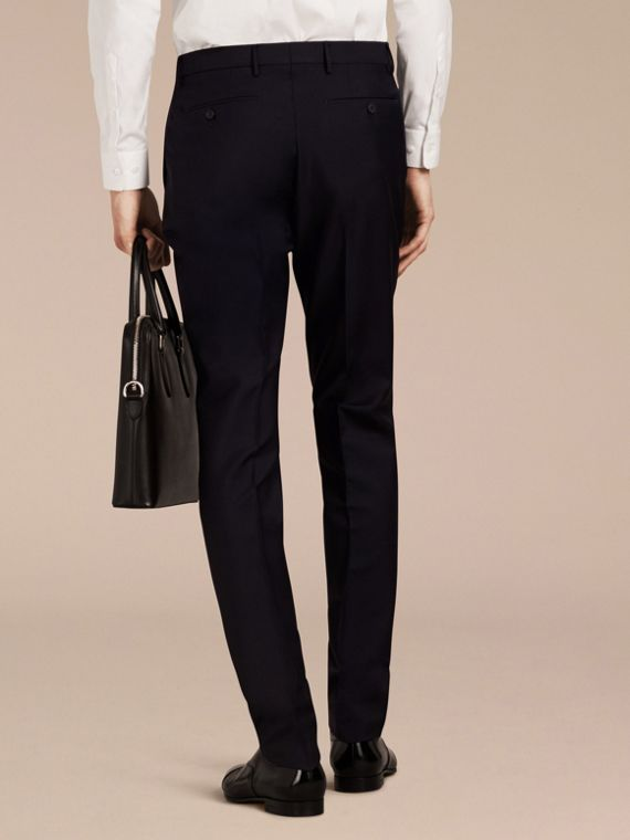 Slim Fit Wool Mohair Trousers in True Navy - Men | Burberry - cell image 2