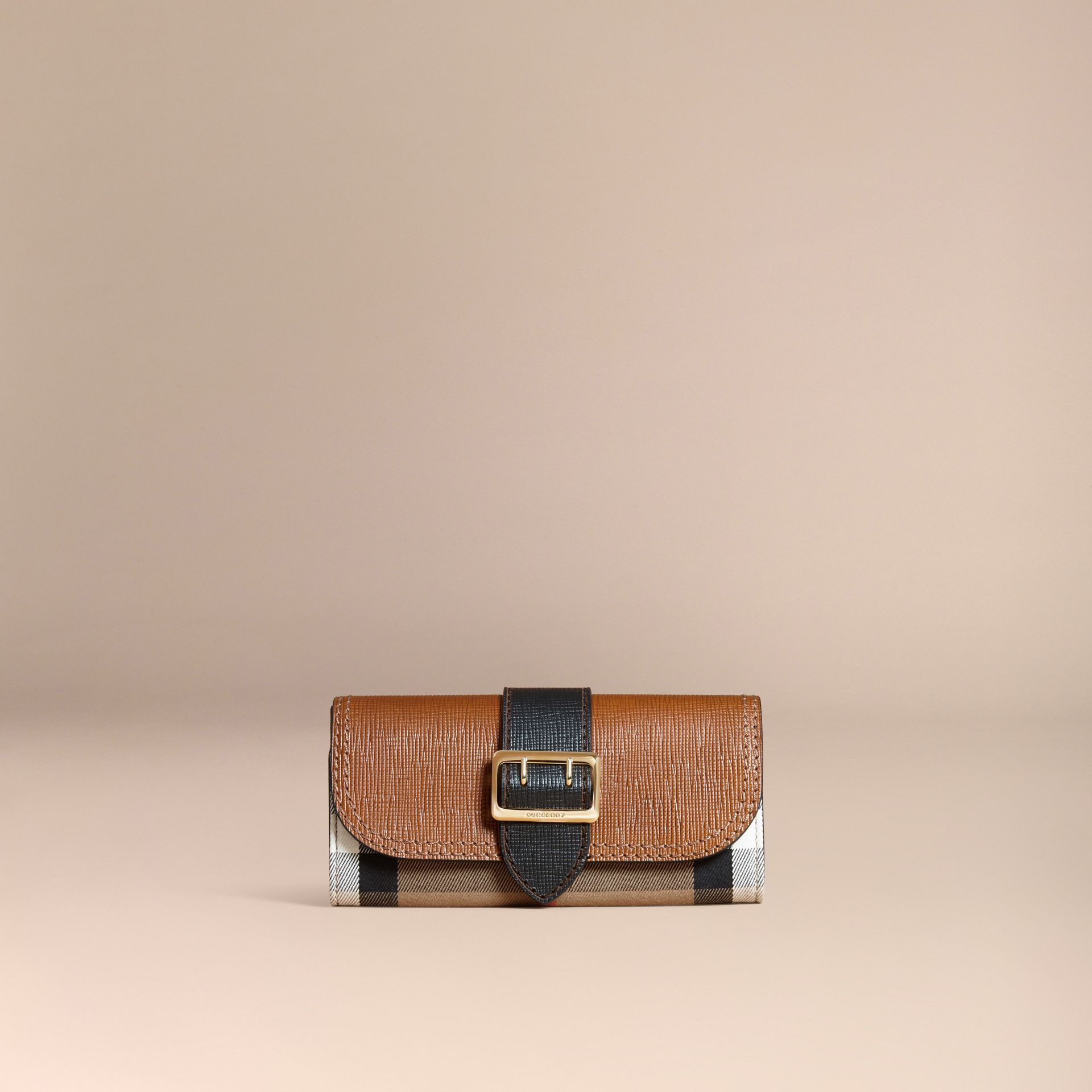Tan / black House Check and Leather Continental Wallet Tan / Black - gallery image 6