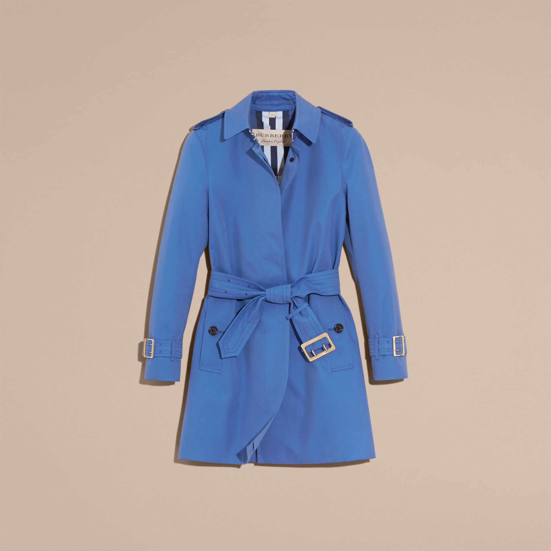 Bright steel blue Single-breasted Trench Coat with Metal Buckle Detail Bright Steel Blue - gallery image 4