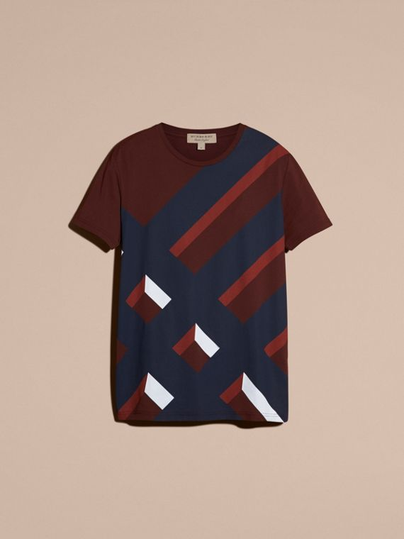 Abstract Check Print Cotton T-shirt Deep Claret - cell image 3