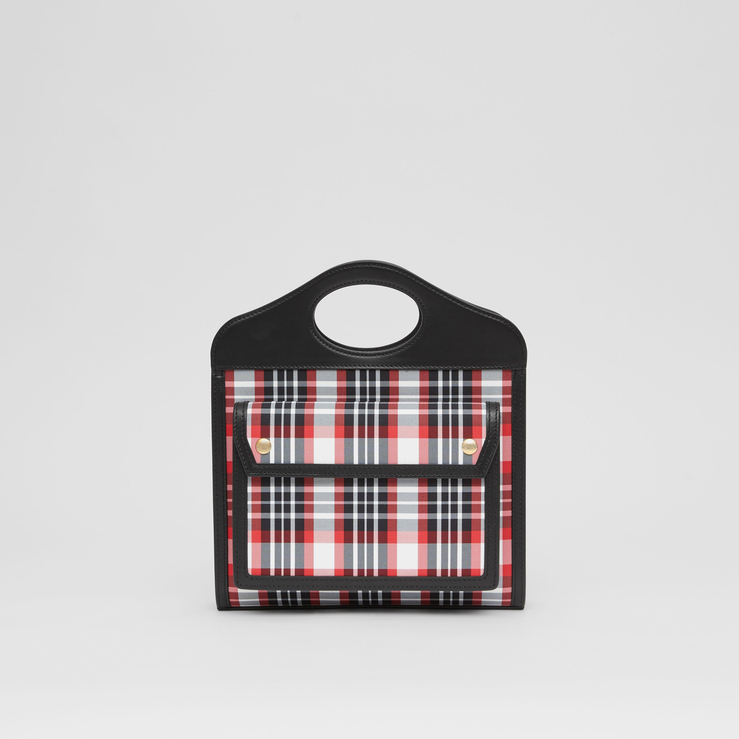 Mini Tartan Nylon and Leather Pocket Bag in Bright Red - Women | Burberry United States - 1