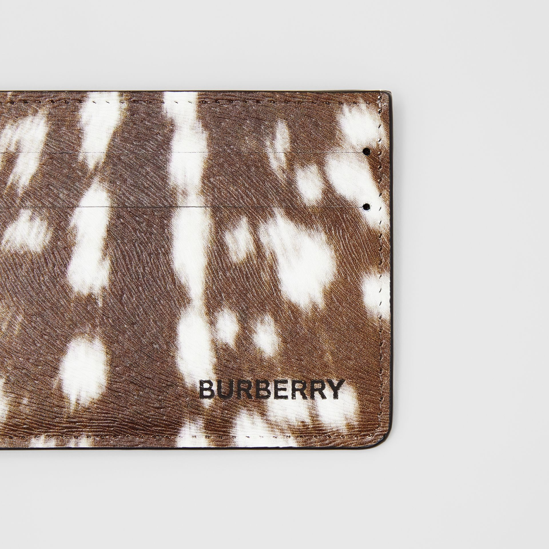 Deer Print Leather Card Case in Tan/white | Burberry - gallery image 4
