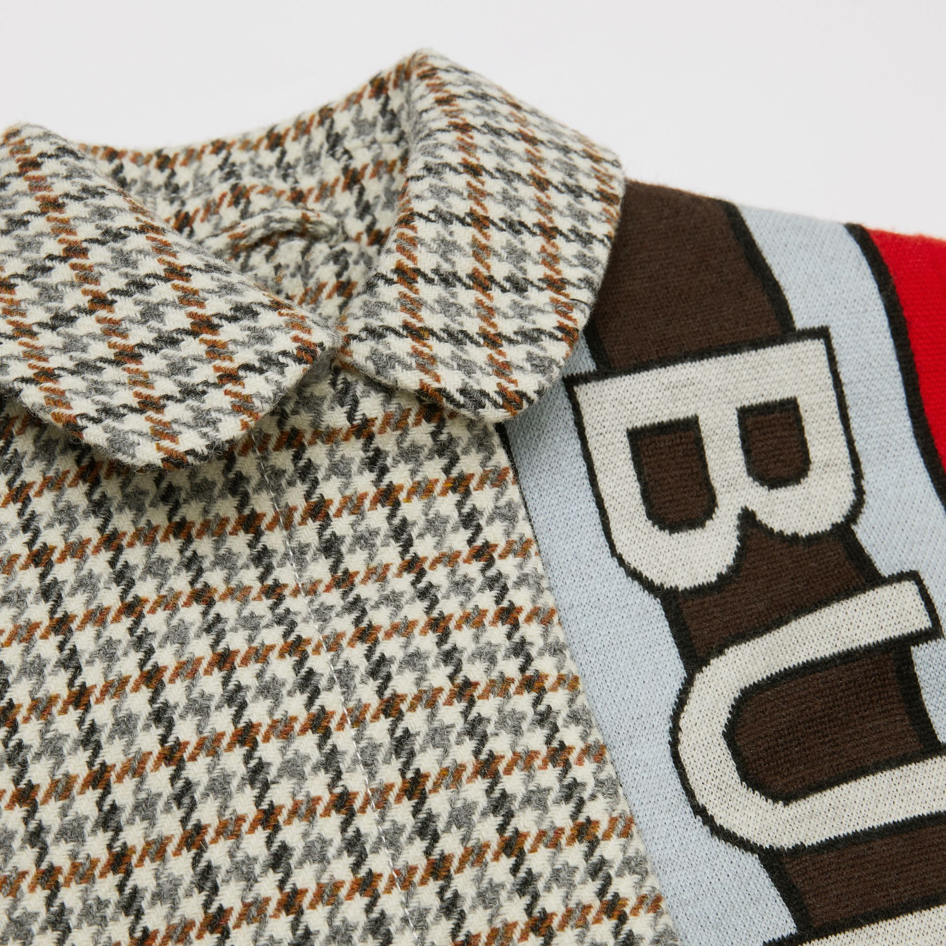 Logo Panel Houndstooth Check Wool Coat in Rust Brown | Burberry - gallery image 1
